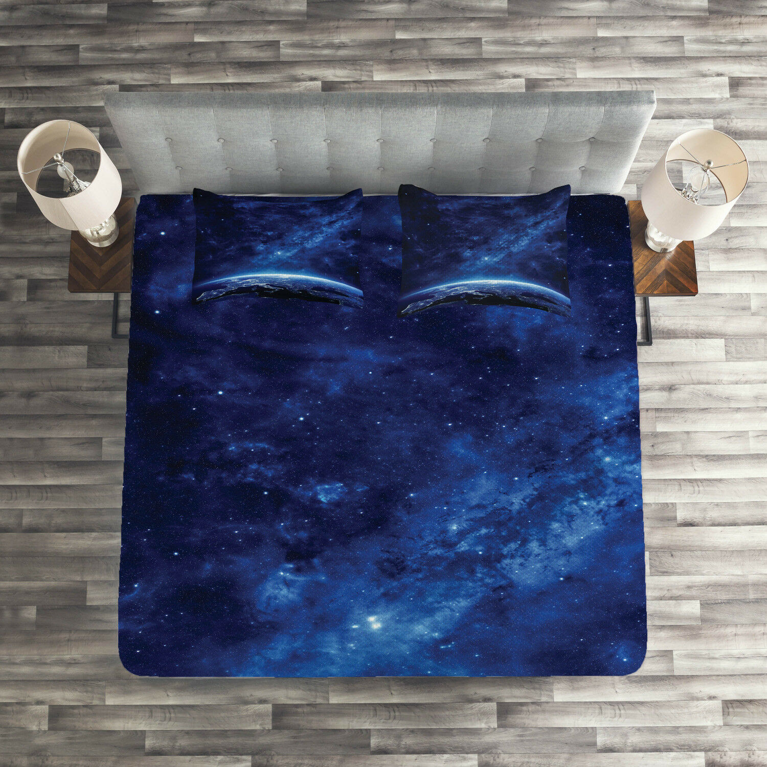Space Quilted Coverlet & Pillow Shams Set, Vibrant Milky Way Stars Print