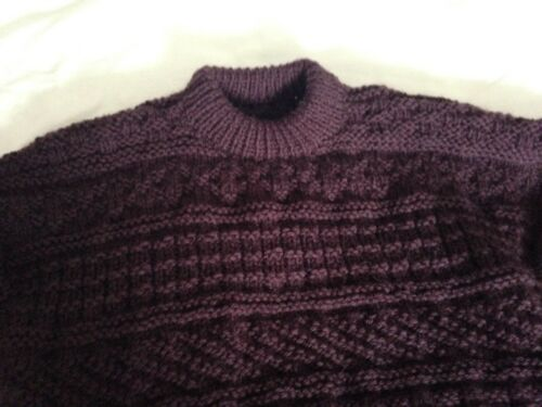 Aran Handknit Weight 16 New Chunky Black Brown 18 Sampler Large Jumper EaaqY6