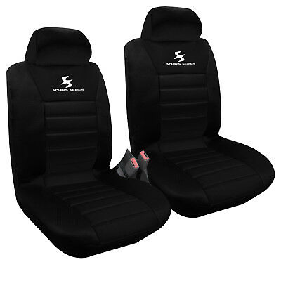 2er Vordere Auto Sitzbezüge Schonbezüge Sitzbezug Universal Schwarz AS7254