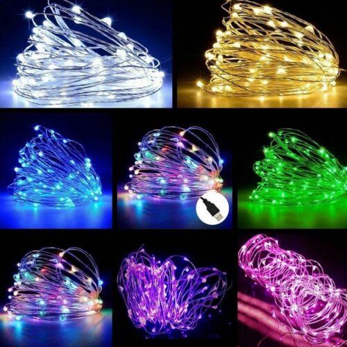 10M USB 100LED Silber Wasserdichte Draht String Fairy Light Strip Lampe Party De