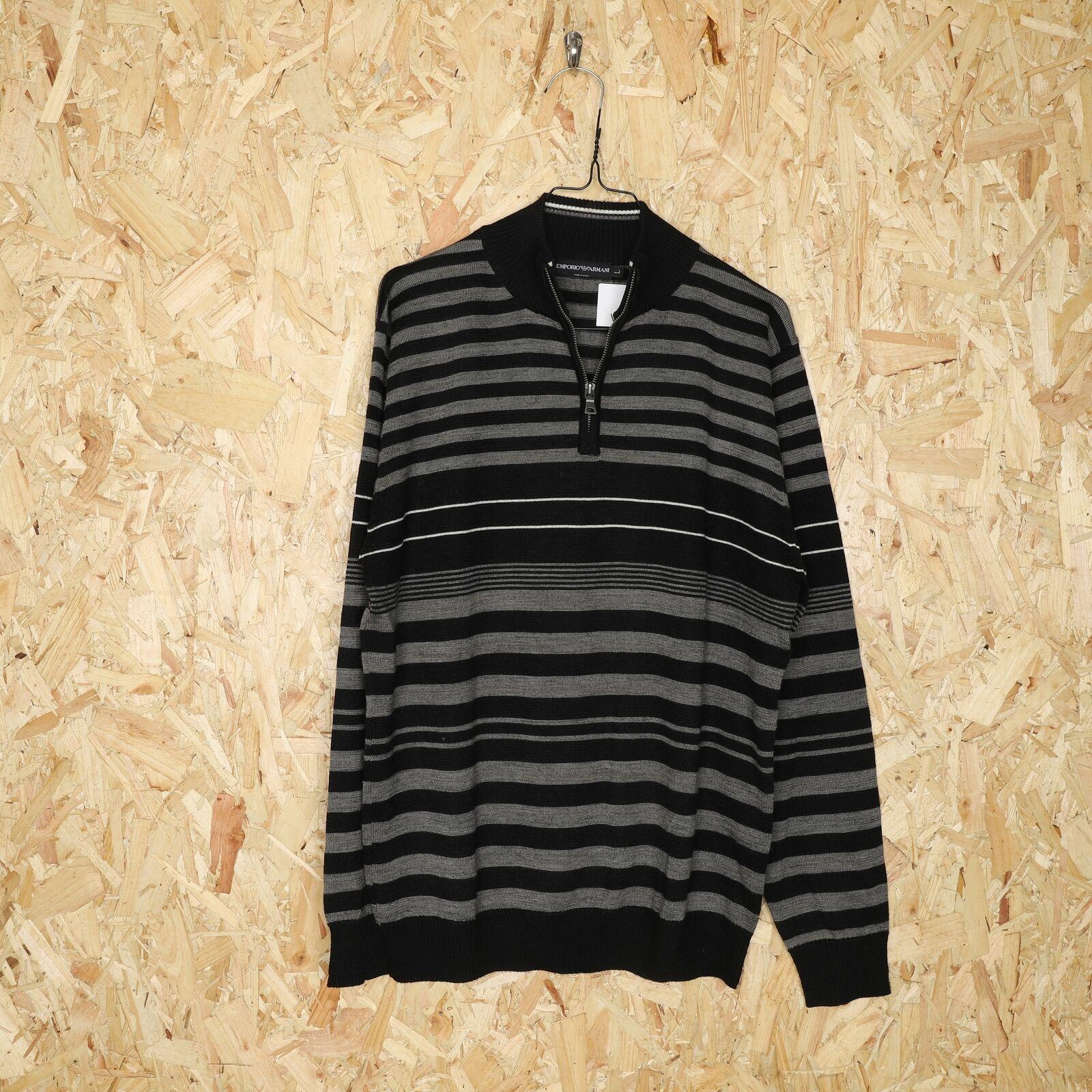EMPORIO ARMANI 1/4 Zip Knitted Sweatshirt Black   Large L