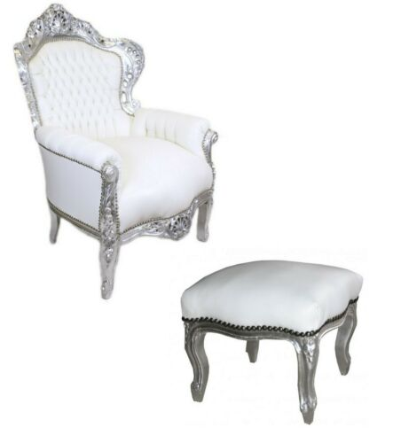 SET BAROQUE STYLE ARMCHAIR   FOOTSTOOL SILVER / WHITE # MB175