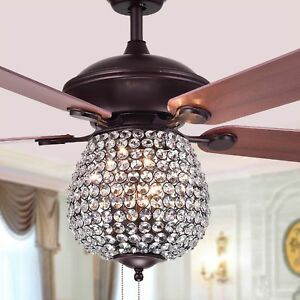 Details About Reversible 52 Crystal Chandelier Ceiling Fan Pendant Light Lamp String 5 Blades