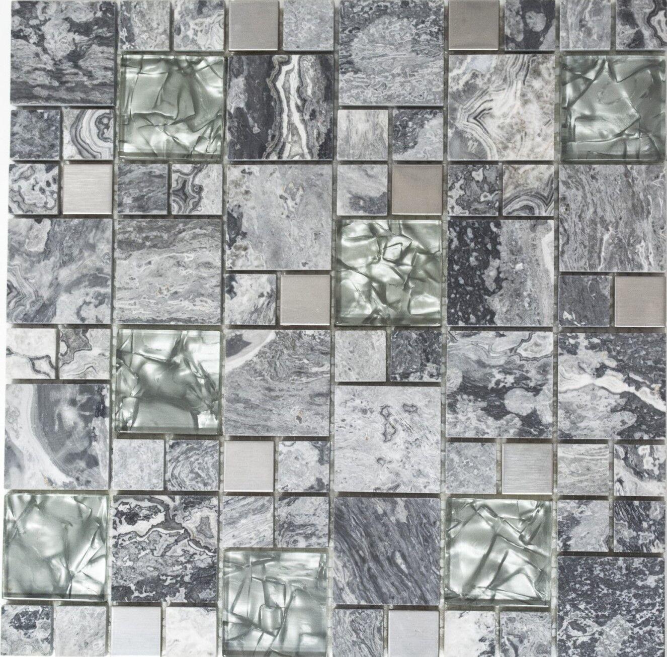 Glas- Natursteinmosaik Stahl mix Kombination grau Küche Art 88-0204   10 Matten