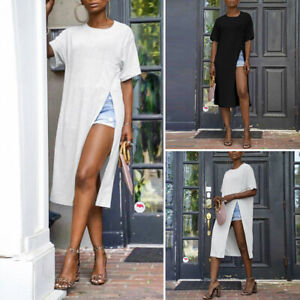 Women-Loose-Short-Sleeve-Tops-High-Slit-Ladies-Sexy-Beach-Blouse-Dress-Shirt-Tee
