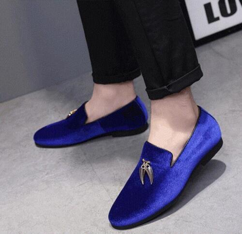 Mens Velvet Loafers Buckle Wedding Dress Shoes Slip On Casual Moccains Comfort