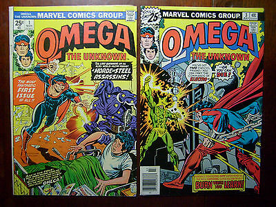 Omega the Unknown #1 & #3 1976 Marvel 1st App & Ft Electro 2 BK LOT/ SET FN & VF