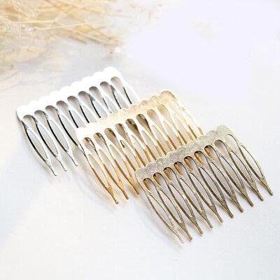 Lot 10pcs 10 Teeth Metal Blank DIY Silver Gold Bronze Hair Comb Clip Crafts 55mm