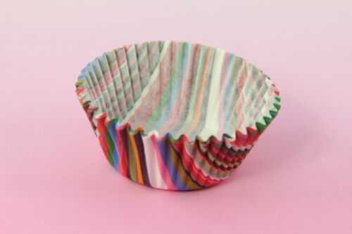 """100x taille standard couleurs assorties 2/"""" Cupcake Liners cuisson tasses à rayures"""