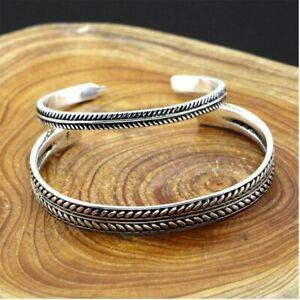 Damen-Armband-Silber-925-Armreif-Federblaetter-Verdreht-Einstellbar-Geschenk-Neu