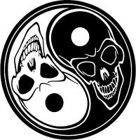 Ying Yang Skull  vinyl wall decals, car or notebook