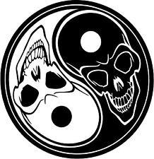 Ying Yang Skull  vinyl wall decals, car or notebook