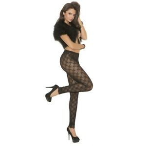 Elegant-Moments-Women-039-s-Lace-Leggings-Black-100-Nylon-Floral-1-Pair