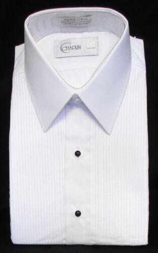 New Men/'s White Tuxedo Shirt Laydown Collar Pintuck Pleated Front Prom XS 30//31