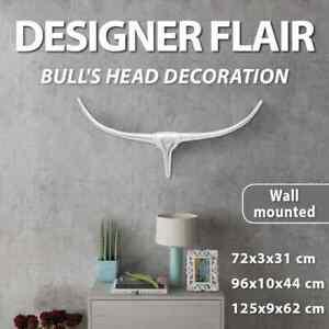 Wall Mounted Aluminium Bull's Head Art Craft Ornaments Decor Silver 72/96/125cm