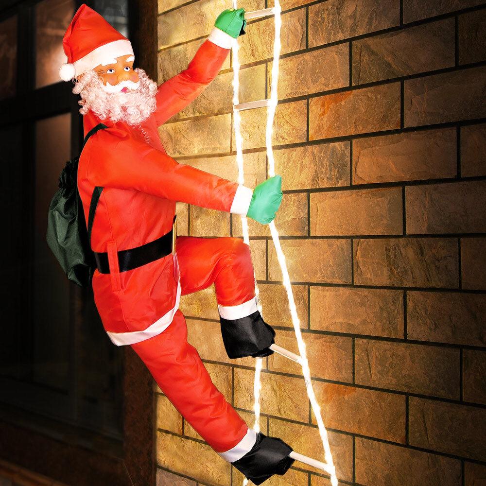 Père Noël grimpeur sur échelle illuminée 120 LED intérieur extérieur Déco fêtes