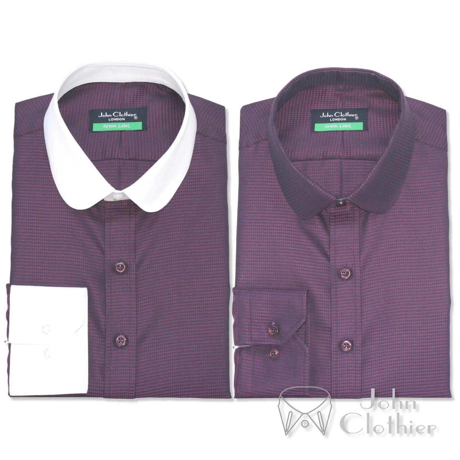 Penny Kragen 100% Baumwolle Herren Shirt Maroon Oxford Bankier weiß Club rund