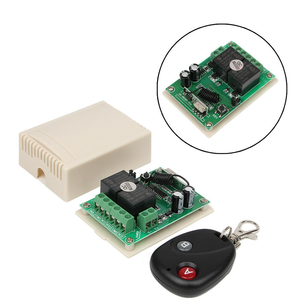 433MHz DC 12V 2CH Universal 10A Relay Wireless Remote Control Switch Q5T3