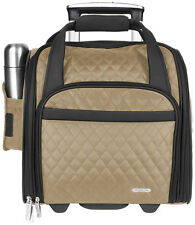 Travelon Wheeled Underseat Carry On w/ Foldable Tote Bag Luggage - Khaki