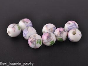 10pcs10mm-Round-Porcelain-Ceramic-Loose-Spacer-Beads-Findings-Light-Purple