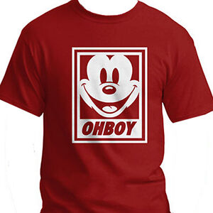 Red-Disney-Mickey-Mouse-Oh-Boy-Obey-Parody-Cotton-Crew-Neck-T-Shirt-Tee-LARGE