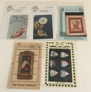VINTAGE-LOT-OF-5-CHRISTMAS-Tole-Painting-PATTERNS-COUNTRY-DELANE-FRANK-BIELEC