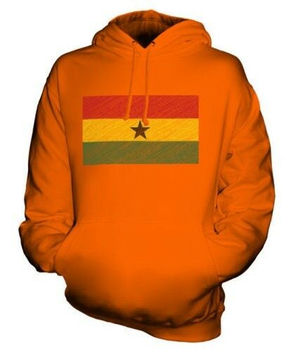 Ghana Scribble Flag Unisex Kapuzenpulli Top Geschenk Ghanaische Fußball