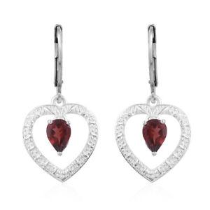 925 Sterling Silver Pear Garnet Heart Dangle Drop Earrings Gift for Women Ct 1.6