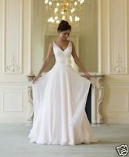 Simple V Neck White Beach A Line Chiffon Wedding Dress Bridal Gown Custom 2-20+