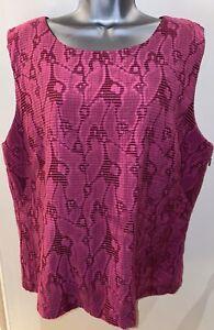 Jaeger-Bright-Pink-Textured-Viscose-Blend-Sleeveless-Top-Size-18