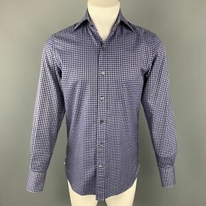TOM-FORD-Size-S-Navy-amp-White-Plaid-Cotton-Button-Up-Long-Sleeve-Shirt