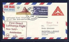 53618) LH FF New York AMF-Amsterdam 1.4.67, postal stat. air mail cover