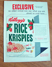 1951  Kellogg's Rice Krispies Ad Snap Crackle Pop