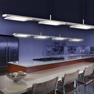Dettagli su Lampada a sospensione LED 4 spot cucina salone design moderno  nickel nuova 67359