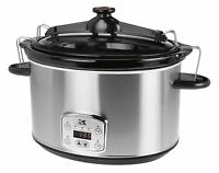 Kalorik Stainless Steel 8qt. Digital Slow Cooker with Locking Lid, SC-41175-SS