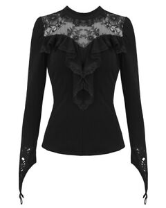 Dark-In-Love-Womens-Gothic-Top-Black-Long-Sleeve-Lace-Frill-Steampunk-Victorian