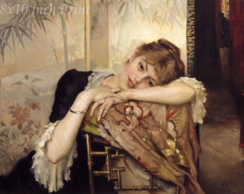 Young Woman Relax on Chair 8x10 Print 1453 Virginie by Albert Edelfelt