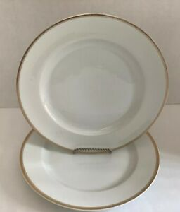 Antique-H-amp-Co-Selb-Bavaria-Dinner-Plates-With-Gold-Rim-Set-Of-2-10-Round