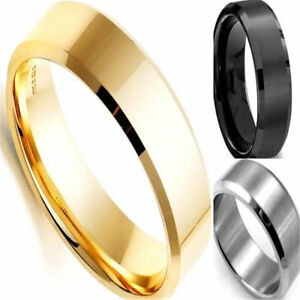 Men-039-s-Charm-Ring-Titanium-Stainless-Steel-Black-Gold-Silver-8mm-Width-Sz-6-12
