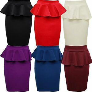 New-Womens-Plus-Size-Peplum-Skirt-Bodycon-Pencil-Skirts-8-22