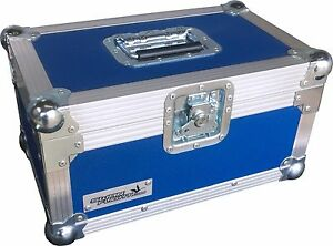 "7/"" Single 200 Swan Flight Case Vinyl Record Box Light Blue Rigid PVC"