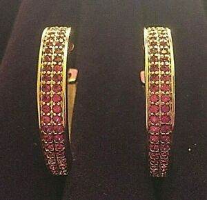 Large-gold-hoop-earrings-28mm-with-pink-rubies-REAL-18k-yellow-gold-filled-BOXED
