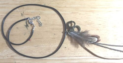 """S/&M BRONZE HANDCUFFS CHAIN FEATHER /""""50 SHADES OF GREY/"""" LEATHER CHOKER NECKLACE"""