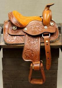 8-034-Tan-Western-Toddler-Saddle-Leather-Miniature-Trail-Saddle-Mini-Horse
