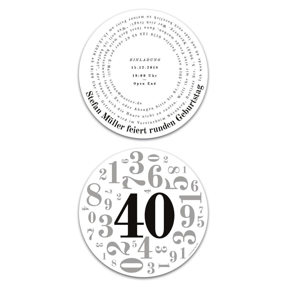 Runde Einladungen Geburtstag 40 Jahre Einladungskarten Karten - Zahlencollage | Optimaler Preis  | Sale
