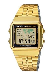 Casio-Watch-A500WGA-1-Vintage-Illuminator-World-Map-Gold-Steel-COD-PayPal