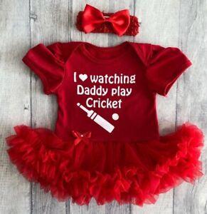 Baby Girl's Cricket Rouge Tutu Ange Daddys Fille Amour Nouveau-né Cadeau Mignon Princesse-afficher Le Titre D'origine Vente De Fin D'AnnéE