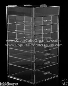 Acrylic-Lucite-Clear-Cube-Makeup-Organizer-The-Kardashians-Display-7-plus-lid