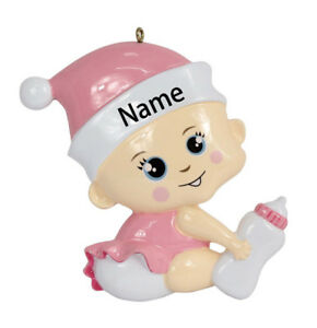 Details About Personalized 2019 Babys 1st Christmas Ornament Birthday Gift For Girl