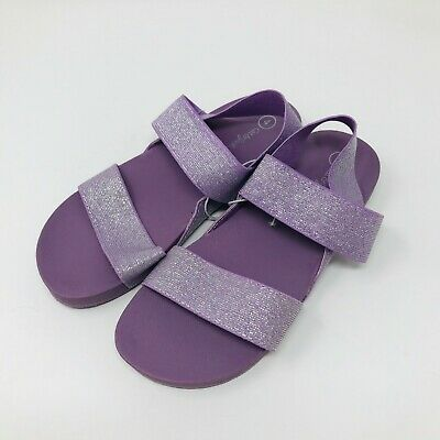 Cat and Jack Youth Girls Strappy Purple And Green Sandals Size 2 3 OR 4